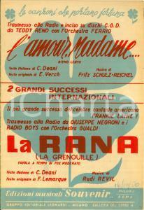 1954 Teddy RENO L'amour, madame Giuseppe NEGRONI La rana *Spartito
