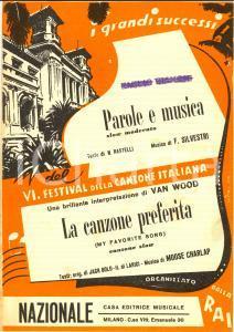 1952 FESTIVAL SANREMO Parole e musica RASTELLI SILVESTRI Illustrato *Spartito