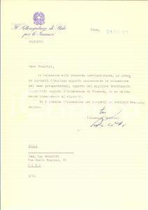 1973 ROMA On. Giuseppe BELOTTI a Ugo BONAFINI Autografo