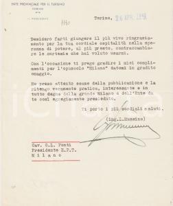 1942 Ente Turismo TORINO Ing. Luigi MUSSINO Autografo
