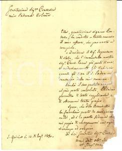 1830 SAN QUIRICO D'ORCIA (SI) Card. Bartolomeo PACCA riceve raccomandato