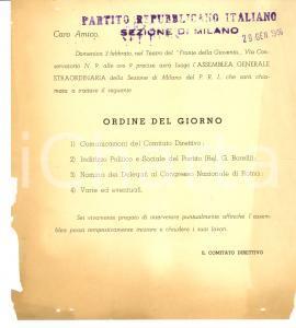 1946 PRI MILANO Assemblea straordinaria per indirizzo politico