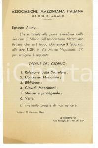 1946 ASSOCIAZIONE MAZZINIANA MILANO Convocazione prima assemblea