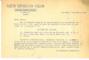 1945 PRI MILANO Circolo Eugenio CHIESA Invito assemblea del circolo