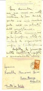 1952 TORINO Autografo Mario Giacomo BRACK DEL PREVER