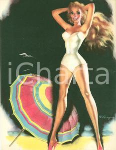 1960 ca Fernando CARCUPINO Modella in spiaggia EROTICO Stampa 21 x 27 cm