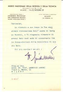 1950 MILANO Guido MELLI su donazione al Museo della Scienza AUTOGR.