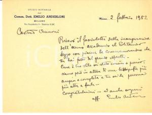 1952 MILANO Ringraziamenti notaio Emilio ANDERLONI Autografo