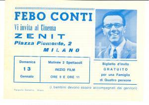 1970 ca MILANO Febo CONTI invita al cinema ZENIT Pubblicitario
