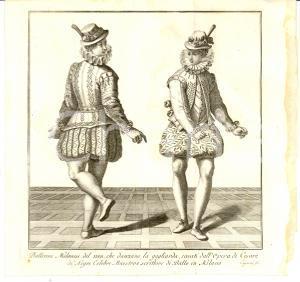 1834 MILANO Ballerini del 1580 che danzano la gagliarda Inc. CAGNONI Stampa