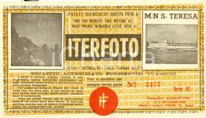 1950 ca CAPRI Biglietto di viaggio su M/N S. TERESA *Iterfoto