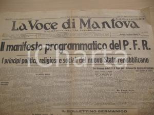 1943 RSI LA VOCE DI MANTOVA Manifesto PFR Partito Fascista Repubblicano Giornale