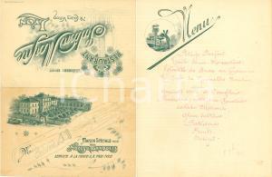 1902 LYON (F) Restaurant JULIEN MOYNE Menù ILLUSTRATO Madame Bissuet