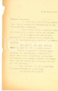 1948 MILANO Giornale cestina articoli Agostino LANZILLO *Lettera