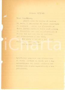 1948 MILANO Collaborazione LANZILLO finisce prima di cominciare *Lettera