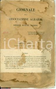 1849 Giornale ASSOCIAZIONE AGRARIA STATI SARDI numero 1