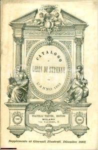1882 MILANO catalogo libri strenne TREVES xilografie