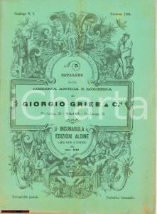 1884 MILANO Catalogo libreria Giorgio GRIEB Incunaboli