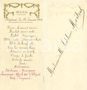 1921 Adeline MOITROT Menu Déjeuner per Cresima