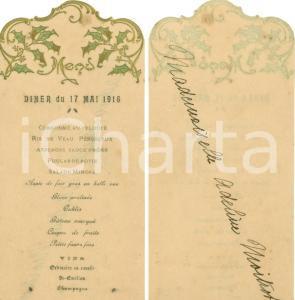 1916 Adeline MOITROT Menu Diner Prima comunione