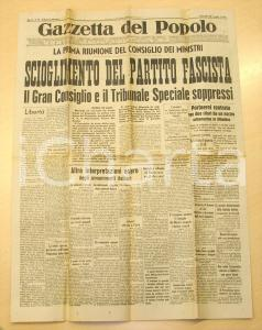 1943 GAZZETTA DEL POPOLO Scioglimento Partito Fascista