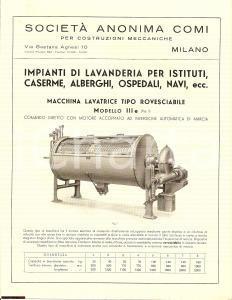 1940 ca. MILANO Società anonima COMI Lavanderia guerra