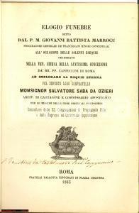 1863 G. Battista MARROCU Elogio mons. Salvatore SABA