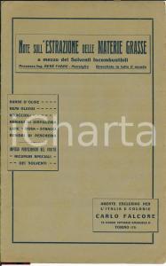 1930 ca Carlo FALCONE Estrazione delle materie grasse