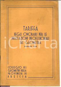 1949 BRESCIA Tariffe prestazioni professionali geometri