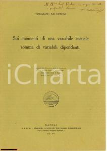 1937 Tommaso SALVEMINI Variabile casuale AUTOGRAFO