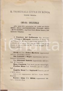 1909 ROMA Fallimento MUTUAL RESERVE LIFE Insurance Co.