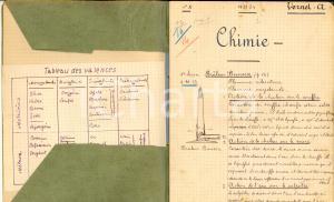 1933 VOIRON (France) Cahier de chimie AIME' VERNET Ecole professionnelle