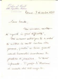 1955 ROMA Lettera gen. Efisio MARRAS Ordine al Merito *Autografo