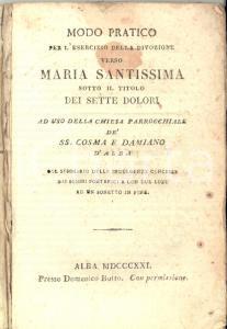 1821 ALBA (CN) Divozione verso Maria Santissima - chiesa SS. COSMA E DAMIANO