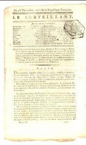 1798 LE SURVEILLANT Gazette REVOLUTION Dilapidatori del patrimonio pubblico