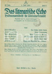 1918 LITERARISCHE ECHO 17 Josef WINCKLER Poeta Jakob KNEIP *Rivista