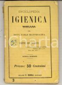 1868 Paolo MANTEGAZZA Almanacco igienico popolare - Igiene del sangue *5^ed.