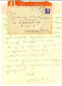 1934 FIRENZE Littoriali di Cultura ed Arte Lettera Giorgio VENTURINI *Autografo