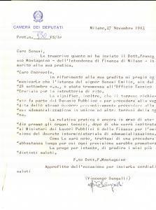 1963 MILANO On. Vincenzo SANGALLI su pratica di Emilio SENESI *Autografo