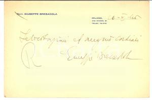 1946 MILANO Biglietto dr. Giuseppe BRESADOLA Auguri *AUTOGRAFO