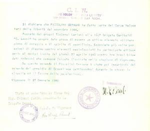 1946 VIGEVANO CLN Germano PICCOLINI 169° Brigata LEONI Autografo Mario COLOMBI