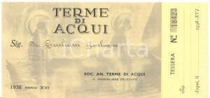1938 ACQUI TERME (AL) Tessera d'ingresso annuale dottor Giuliano GIULIANI