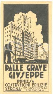 1935 ca VERONA Impresa Giuseppe DALLE GRAVE costruzioni *Etichetta ILLUSTRATA