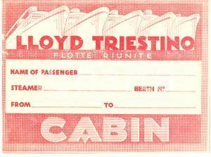 1935 ca LLOYD TRIESTINO Flotte riunite etichetta per cabina  ILLUSTRATA