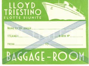 1935 ca LLOYD TRIESTINO Flotte riunite etichetta per bagaglio ILLUSTRATA