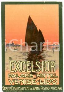 1935 ca LIDO di VENEZIA Palace Hotel EXCELSIOR etichetta ILLUSTRATA