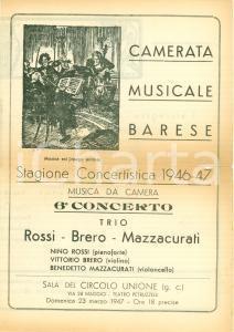 1946 BARI Concerto Nino ROSSI Vittorio BRERO Benedetto MAZZACURATI DANNEGGIATO