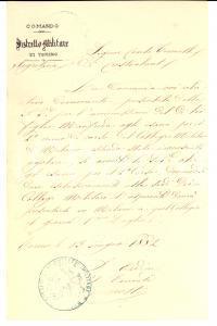 1882 TORINO Ammissione Manfredo TORNIELLI a Collegio Militare di MILANO