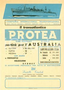 1951 GENOVA Transatlantico PROTEA parte per AUSTRALIA emigranti *Volantino