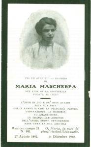 1912 MILANO In memoria di Maria MASCHERPA, volata al cielo, Santino con ritratto